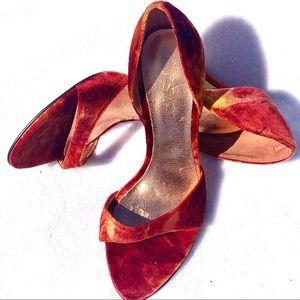 RSVP Burnt Orange Velvet Evening Sandal Heels